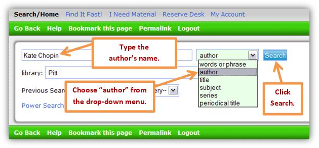 Catalog author search.