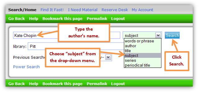 Catalog subject search.