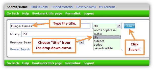 Catalog title search.