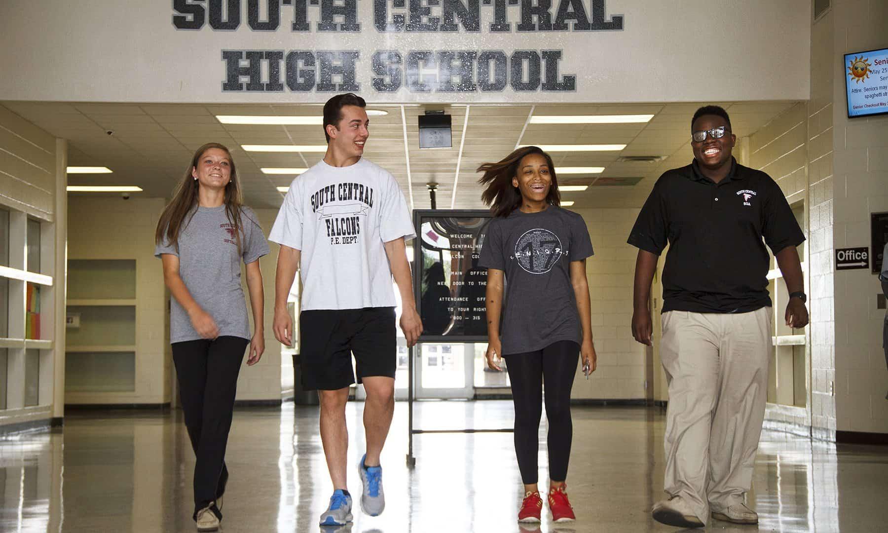High School students walking in hallway