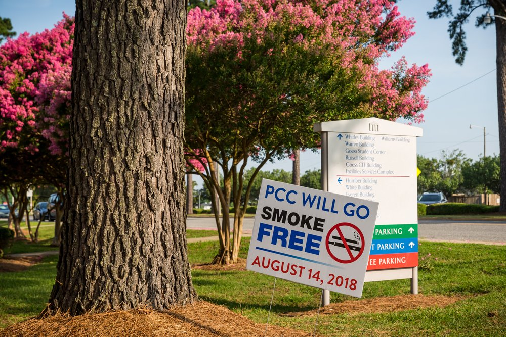 Signs posted throughout the PCC campus remind students and visitors that the college will be going smoke-free Aug. 14, 2018.