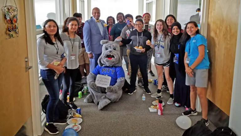 PCC administrators and students joined the PCC mascot, Bruiser, to unveil Bruiser's Briefcase, a new online jobs and career resources platform.