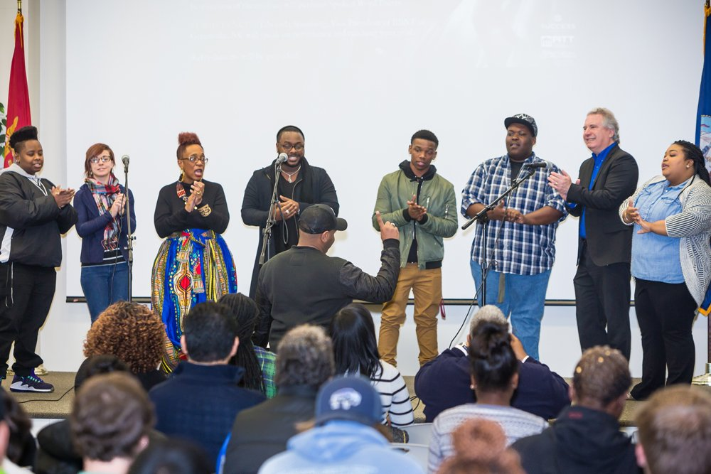 PCC Elements of Praise performs during a college Black History Month program.