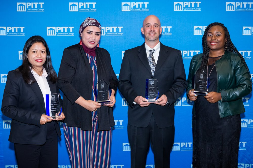 This year's PCC Alumni Award winners are, left to right: Outstanding Alumni Award recipient Touhida Zannat, Young Alumni Award recipient Amira Ali, Outstanding Alumni Award recipient Matthew Grace and Employee Alumni Award recipient Mecca Waller.