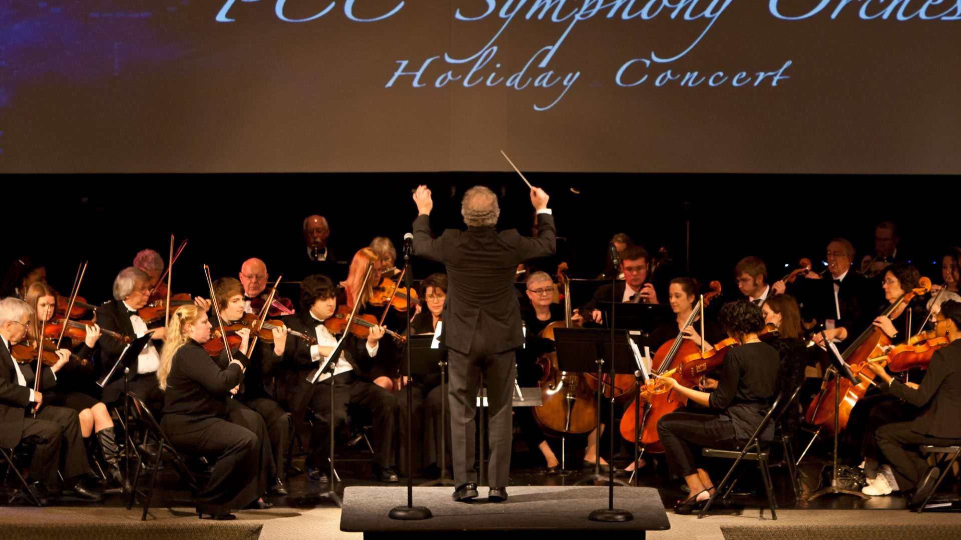Led my PCC's Michael Stephenson, the PCC Symphony Orchestra performs music during its annual holiday concert.