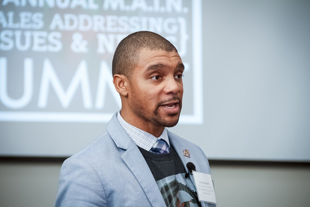Greg Hedgepeth with the Center for Emerging Issues at N.C. State University served as keynote speaker for the 2nd Annual Males Addressing Issues & Needs Summit at PCC.
