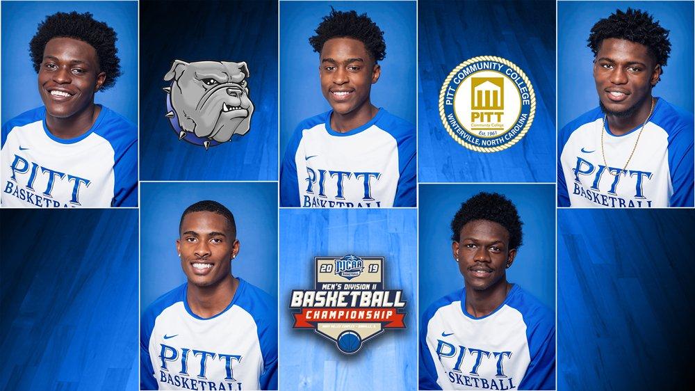 Portraits of PCC Basketball's top five scorers against Dakota Tech.