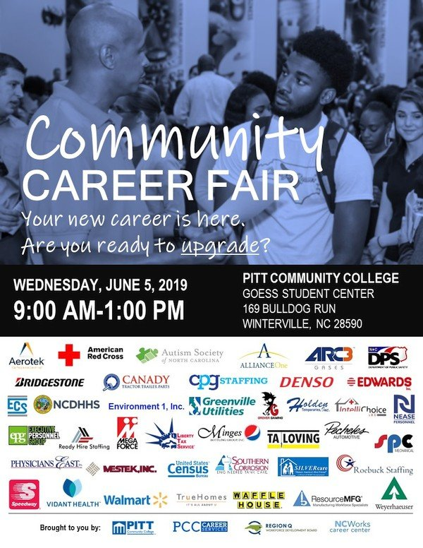 Community Career Fair, Wednesday, June 5, 2019, 9:00 am - 1:00 pm, Goess Student Center, Pitt Community College