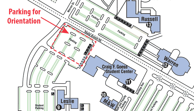 Parking map for orientation