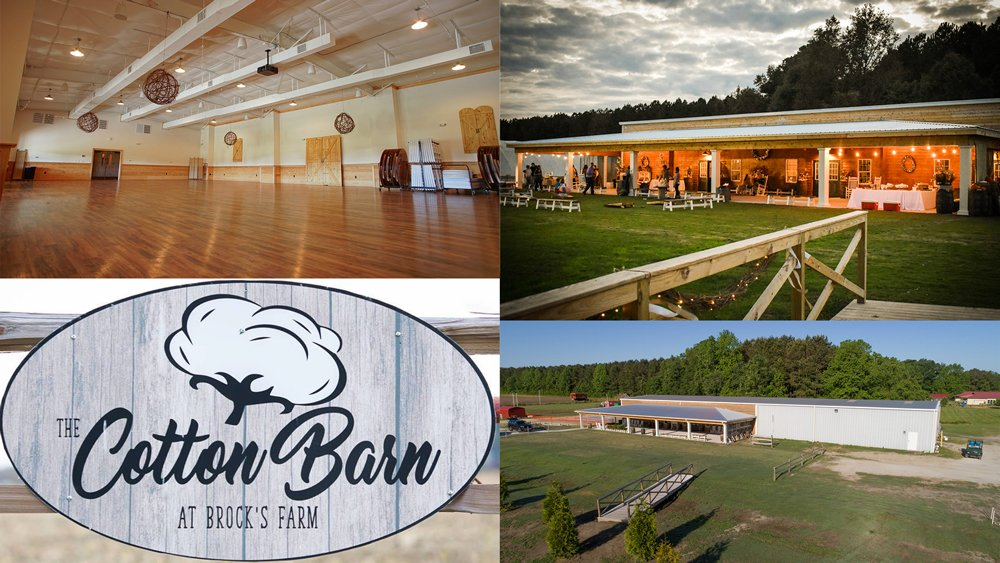 Collage of photos of The Cotton Barn in Winterville, N.C.
