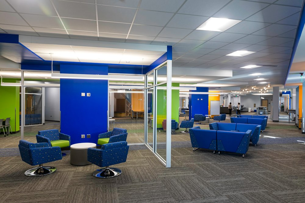 Rather than a collection of small spaces confined by numerous walls, the first floor of the PCC library is now wide open, with plenty of seating areas and computer labs for students to study and collaborate on projects.