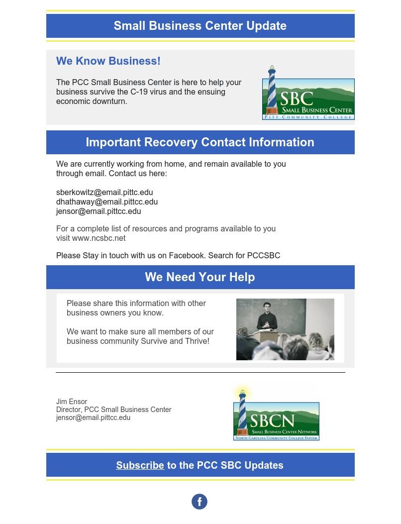 SBC Coronavirus assistance information page.