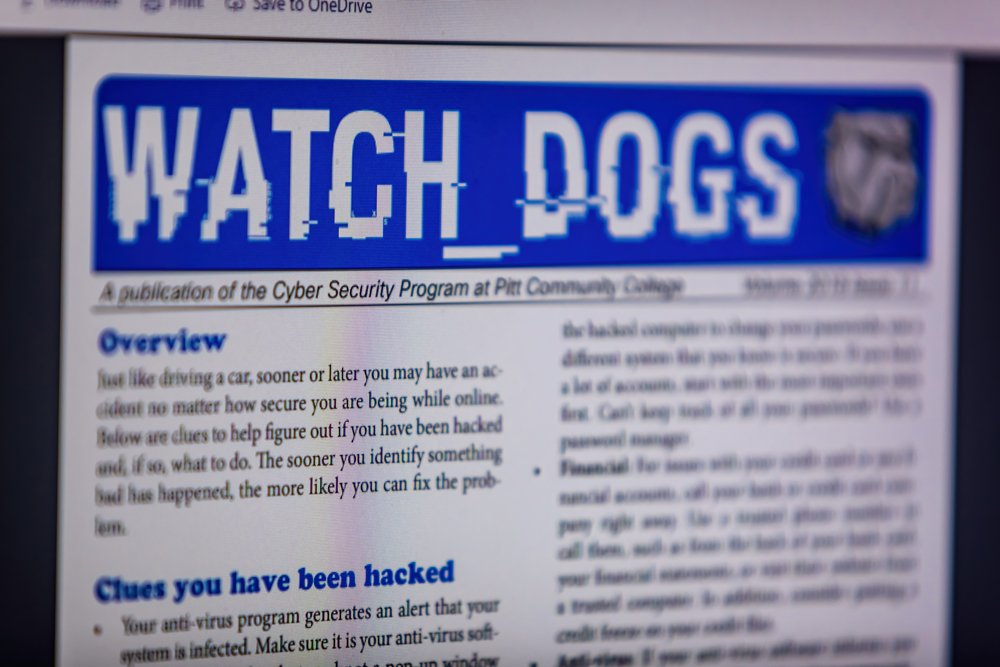 """Photo of computer screen with """"Watch Dogs"""" newsletter displayed."""