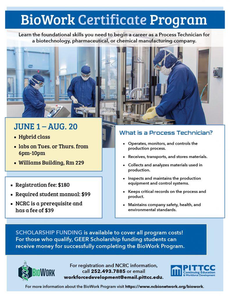BioWork Certificate Program flyer