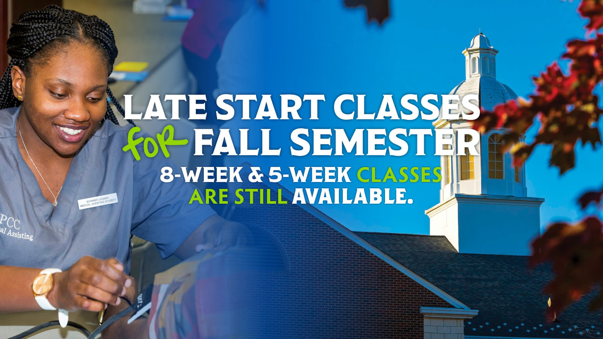 Graphic announcing 2020 Fall Semester late-start classes.