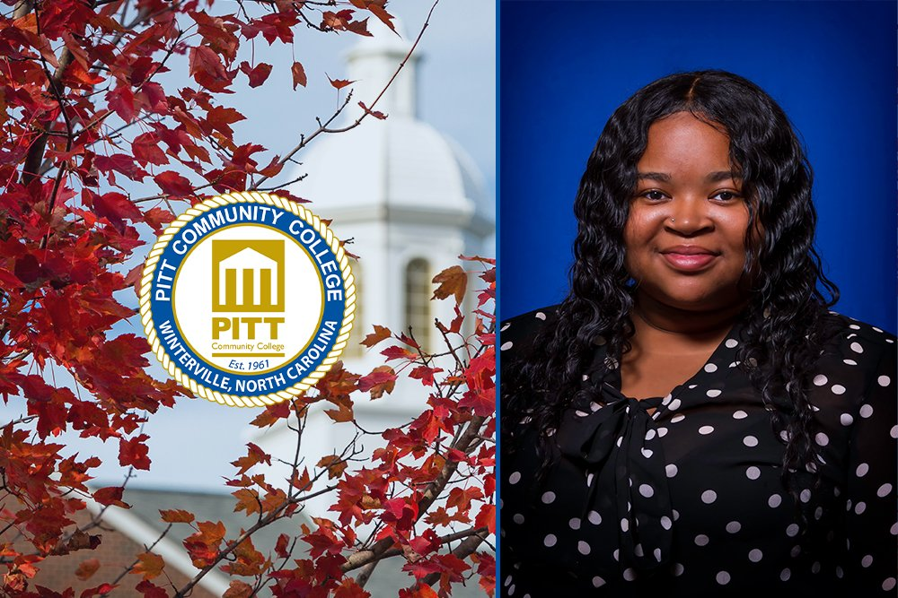 Graphic with portrait of Najella Williams against blue background, PCC logo and Warren Cupola.
