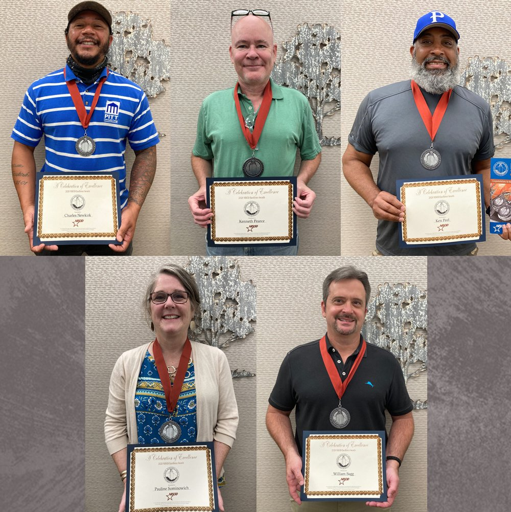 Five PCC faculty and staff members received 2020 NISOD Excellence Awards. They are: (top row, left to right) Charles Newkirk, Kenneth Pearce and Ken Peel. (Bottom row, l-r) Pauline Simonowich and Rusty Sugg.