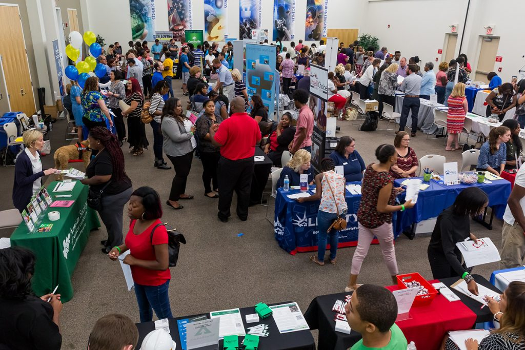 Students interact with businesses at a Career Fair