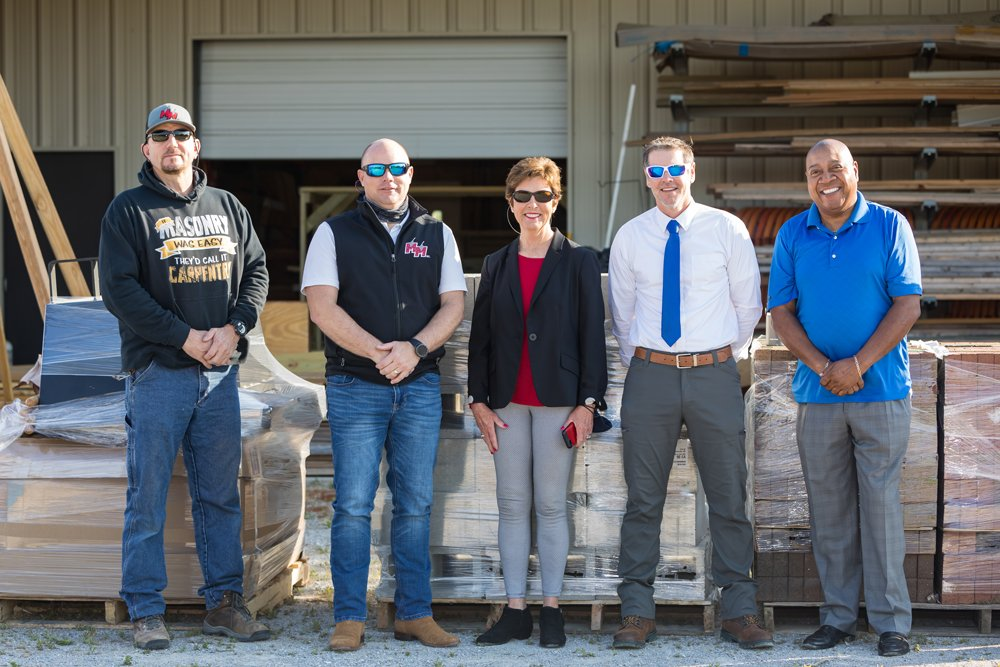 On hand for the delivery of masonry supplies and equipment were, left to right: PCC Masonry Instructor Rob Waugh, Manning Masonry, Inc. Vice President Tim Manning, PCC Coordinator of Technical Trades Gail Nichols, PCC Construction & Industrial Technology Dean Steven Mathews and PCC Assistant Vice President of Outreach/Community Engagement Ernis Lee.