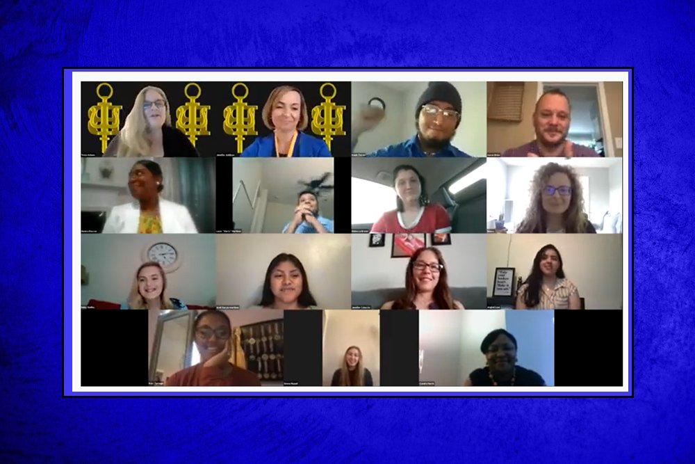 PCC instructors Patricia Adams and Jennifer Addison (top left) welcome new Psi Beta members during a virtual induction ceremony held April 24. Adams and Addison serve as faculty advisors to Pitt's chapter of the national honor society for psychology at community and junior colleges.