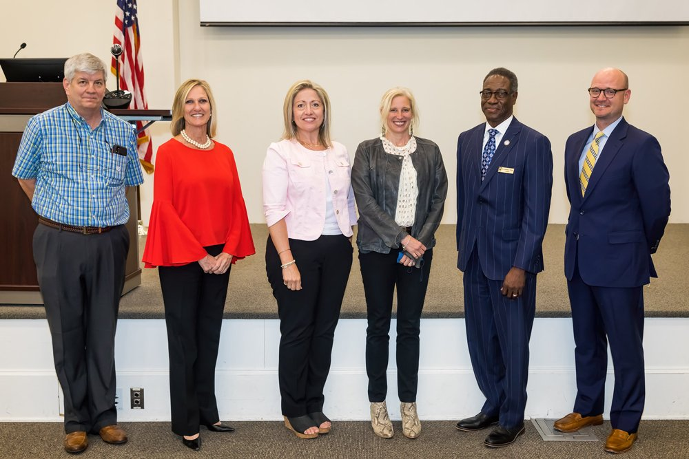 PCC administrators and local leaders met with representatives from the John M. Belk Endowment and myFutureNC in April to discuss the launch of a new pilot project focused on adult learners. From left to right are: PCC Trustees Chairman Gary Evans, myFutureNC President and CEO Cecilia Holden, Audrey Jaeger, Executive Director of the Belk Center for Community College Leadership and Research, MC Belk Pilon, President and Board Chair of the John M. Belk Endowment, PCC President Lawrence Rouse and Mike Krause, a higher education consultant with Bradley Arant Boult Cummings, LLP.