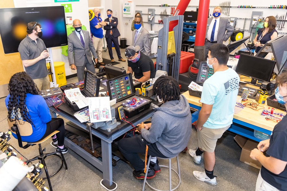 During a tour of PCC in April, N.C. Community College System President Thomas Stith III visited Technical Academy students taking an Industrial Systems course. Stith came away from the meeting impressed by the students' commitment to education after learning they had come to class despite Pitt County Schools being on spring break.
